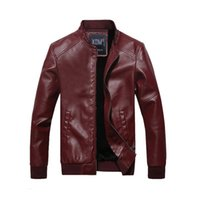 PU Leather Jacket Mens Motocycle Clothes Fashion Motor Biker...