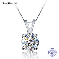 Shipei 100% 925 colar de prata Fine Jewelry 8 milímetros rodada Criado Moissianite Colar Pingente por Mulheres Christmas Gift CX200609