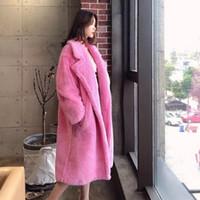 yaka pembe şeker renk midi uzun parka ceket artı boyutu gevşek casacos aşağı Yeni moda women 'kalınlaşma sıcak taklit kuzu kürk dönüş