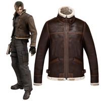 Resident Evil 4 Lyon Leon Jacke Cosplay Kleidung Jacke Wolle wie Lederjacke Frühling