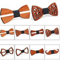 Erkekler Business Suit Bow Kravatlar El yapımı Ahşap Bow Kravatlar İngiliz Koreli Suit Papyon Şık Ayarlanabilir Bow Kravatlar Yaratıcı Hediyeler