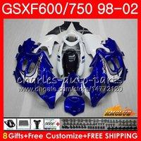 Cuerpo para Suzuki Katana GSXF 750 600 GSXF600 98 99 00 01 02 Azul Blanco 2HC.48 GSX750F GSX600F GSXF750 1998 1999 2000 2001 2002 Kit de carenario