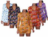 Femmes sexy automne barboteuses Jumpsuits panda V profond col bouton manches longues imprimé salopette short pantalon salopette serré femmes