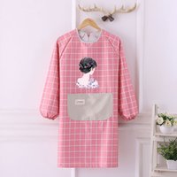 New cute waterproof and oil- proof apron fashion female long-...