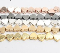 를 이용해 5mm x 6mm 도매 사랑의 하트 골드 블랙 양쪽 느슨한 스페이서 비즈 천연 돌 구슬 목걸이 DIY 팔찌 만들기 보석에 대한