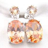 Luckyshine 6 Pair 925 Silver Plated Unique Oval Morganite Ge...