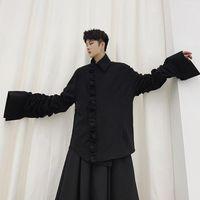 Erkekler Japonya Streetwear Günlük Gömlek Stil Ceket Erkek Pileli Flare Kol Vintage Moda Gotik Kat Kabanlar Sahne Giyim