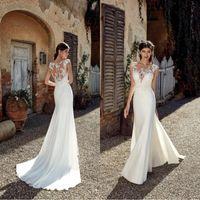 2019 새로운 디자이너 해변 웨딩 드레스 섹시 한 레이스 Applique 얇은 목 바닥 길이 보헤미안 저렴 한 크기 결혼식 신부 드레스 BC0833