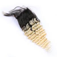 Deep Wave Blonde Ombre Cheveux Dentelle Fermeture Deux Tons 1b 613 Foncé Roots Deep Wave Bouclés Cheveux Humains Fermeture Top Cheveux Brésiliens Vierge