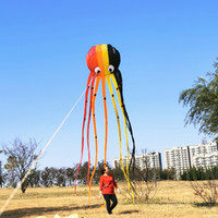 Octopus kite 3D kite dibujos animados colorido esqueleto libre cola larga fácil de volar kites al aire libre deporte jugar
