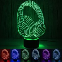 Headphone 3D Luz 7 Cor Mudar Cores Noite Light Touch Lampe 3D Acrílico Led Lamp Deco Lava-Lâmpada Vida Table Lamp LED