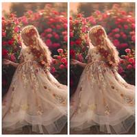 Bloße lange Ärmel SpitzeAppliques A-Line-Blumen-Mädchen-Kleid-formale Lange-Kind-Partei-Kleider 2020 Prinzessin-Geburtstags-Party-Kleider Günstige
