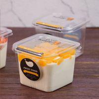 Очистить Cake Box Прозрачной квадратного Мусс Пластикового кекс коробка с крышкой йогурт Пудинг Свадьбы Supplies EEA704