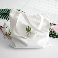 Shoulder Handbags Cotton Tote Canvas Quality Grocery Cactus High Zippered Women Eco Kfqed Print Men Bag Shopping Srmne