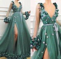 Vert chasseur Une ligne robes de soirée 3D Floral main fleurs à manches longues col en V haut fendus robe de bal formelle Robes de soirée Paty Wear