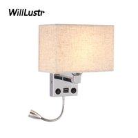 الإضاءة المعادن الإبداعية نسيج الجدار مصباح LED ضوء القراءة الحديد الشمعدان فندق الممر ممر غرفة المعيشة الحديثة السرير مع USB