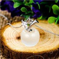 Qualität Opal Apple Halskette Strass Rhodium Modeschmuck Silber Mondstein Anhänger Halsketten Frauen Feine Einfache Schmuck Großhandel Hot