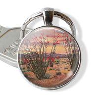 Ocotillo Cactus Llavero Cúpula de cristal hecha a mano Regalo de la joyería del desierto de Cabochon para los amantes de las plantas Regalo de cumpleaños Moda Plateado Llavero,