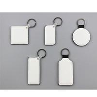 Sublimação em branco de couro redondo Retângulo chaveiros quadrados hot impressão de transferência de dois lados pode consumíveis impressos novos estilos