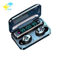Vitog F9-10 TWS 무선 블루투스 5.0 이어폰 보이지 않는 이어폰 스테레오 시계 소음 취소 3 LED 전원 디스플레이가있는 게임 헤드셋
