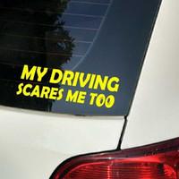Pegatinas de advertencia de seguridad traseras reflectantes CAR mi conducción me asusta también Calcomanías