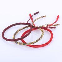 La oración DIEZI budista tibetano pulsera suerte nudo de la cuerda hombres de las pulseras de las mujeres hechas a mano de la armadura de pulsera trenzada
