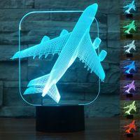 Luce Aircraft Warplane 3D Notte 7 cambiamento di colore del LED lampada da tavolo di natale del regalo del giocattolo per i bambini