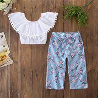 Einzelhandel Kinder-Outfits Mädchen Mode eine Schulter T + Blumen breite Beinhosen 2pcs Kinder Kleidungssatz Babyanzug Kinder Designerkleidung