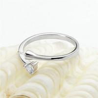 Impostazioni anello Bianco Bianco Zircone One Stone 925 Sterling Silver Silver FAI DA TE Risultati di gioielli Perla Montaggio per perle