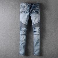 Für Männer falten dünne hellblaue Jeans Modedesigner Plissee Panelled Zipper Slim Fit Motorradfahrer Hip Hop-Denim-Hosen 957