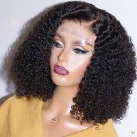 13x4 Kinky Kıvırcık Bob Peruk Dantel Ön İnsan Saç Peruk Siyah Kadınlar Için 150% Remy Brezilyalı Saç Ön Kopardı Bebek Saç