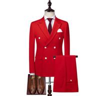 XLY 2019 двубортный красный мужской формальный костюм с белыми пуговицами 2 шт. Свадебные костюмы для мужчин Slim Fit Groom смокинги мужской деловой пиджак