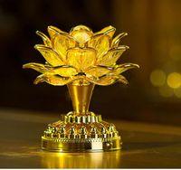 Золото настольная лампа работы Будда спикер Музыка Свет Цветок Fancy Красочный светодиодные Изменение Цветок лотоса Романтическая свадьба украшение партии лампы