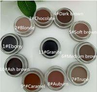 Impermeable Pomada de la ceja del maquillaje potenciadores de la ceja del más nuevo de 11 colores con el paquete al por menor Soft Medium Dark Ash Brown de chocolate del caramelo