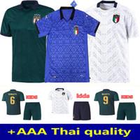 رجل + أطفال 2020 إيطاليا Soccer Jersey 20 21 الأخضر الداكن Jorginho El Shaarawy Bonucci Insigne Bernardeschi Football Shirts إيطاليا Soccer Jersey