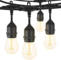 Luci appese LED per esterni luci della stringa 48ft Grade resistente alle intemperie commerciale con 15 infrangibile Bulbi 2W, E26 base, Nero