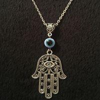 همسة اليد قلادة قلادة خمر الفضة collares يد فاطمة الروحي اليوغا بوذا العين المختنق القلائد للنساء المجوهرات هدية