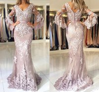 Blush Pink 2019 New Fashion Lace Mermaid Prom Dresses V Neck...