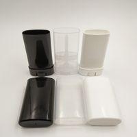500 adet / grup 15 ml / 15g Boş Plastik Oval Ruj Konteyner Beyaz Siyah Temizle Dudak Balsamı Tüpler DIY için Kapakları ile Deodorant Konteyner