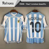 Copa do mundo de 2006 argentina Retro Futebol Jersey 06 Casa Camisas Messi 19 Carlos Tevez Romano Riquelme Cambiasso Crespo Gabriel Heinze Futebol sh