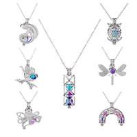 Colorido Jaula de Pearl Collares Collares Lagarto Sirena Libélula Oro Octopus Cilindro Arco Puente Animal Encanto Para Mujeres Joyería De Moda