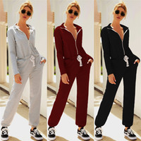Women Zipper Bandage Jumpsuits Fall Long Sleeve Hoodies Romp...