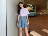 2019 neuen Stil Damenmode Kurzarm Strass T-Shirt und hohe Taille a-line Monddruck Denim-Jeans gefaltet kurzen Rock Twinset