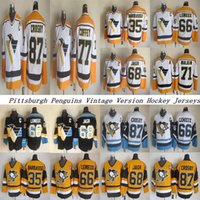 Pittsburgh Penguins CCM خمر الفانيلة 87 كروسبي 71 Maklin 66 Lemieux 35 باراسو 68 ججر 77 كوفي للرجال الهوكي جيرسي