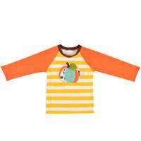 Bebé Niños Camiseta a rayas calabaza remiendo bordado de manga larga Sudaderas niños de ropa informal muchacho de las muchachas ropa ropa del muchacho