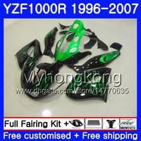 Corpo per YAMAHA Thunderace YZF1000R 96 97 98 99 00 01 238HM.4 YZF-1000R YZF 1000R Fiamme verdi 1996 1997 1998 1999 2000 2001 Kit carenature