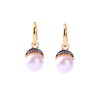 BALANBIU Exquisite Acrylic Pearl Crystal Moon Drop Earrings ...