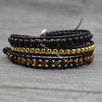 10Pcs 4MM Mixed Stone Natural Matte Black Onyx Tiger Eye Gemstone Beaded Wrap Cuff Bracelet Leather Charm 3 Strands Adjustable Boho Bracelet