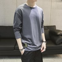 Spring 2019 New Mens Fashion T shirt Plain Long sleeved Mens...