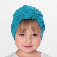 جديد طفلة عقدة العمامة قبعة بسط قاء زجاجي قبعة عمامة bowknot الرضع كاب ربيع الخريف أطفال القبعات قبعة الملحقات